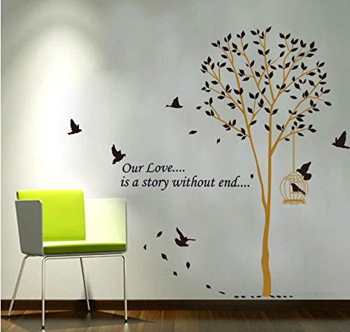 Notre amour est une histoire sans fin Sticker mural Oiseaux Arbre Salon Chambre Stickers Muraux Art Home Decor Affiche Murale