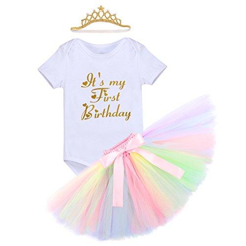 Baby Mädchen Einhorn Geburtstag Kostüm Kleinkinder 1. Geburtstag Outfit Neugeborenen Prinzessin Strampler Body Regenbogen Tütü Rock Einhorn Stirnband 3tlg Bekleidungssets für Fotografie 6-12M