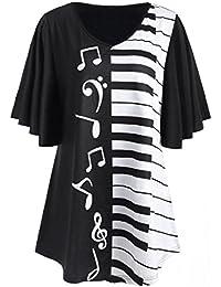 Blusa Talla Grande ♥ Camisas Mujer ♥ Blusa de Mujer Notas Musicales Imprimir Tops Ropa Casual Camiseta Suelta de Manga Corta ♡Xinantime♡