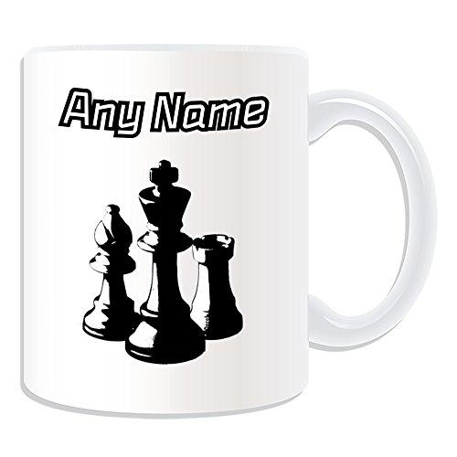 Taza personalizada diseño de ajedrez, color Blanco/Negro