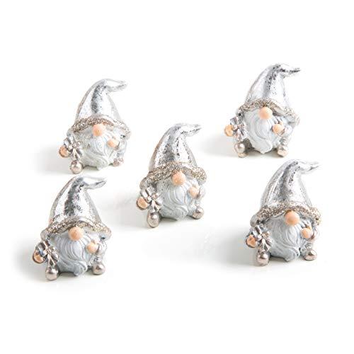 Figura 5piccoli di natale gnomo argento bianco lucido gnomo 5cm decorazione give away regalo di natale mini regalo di natale shabby chic idea regalo di natale