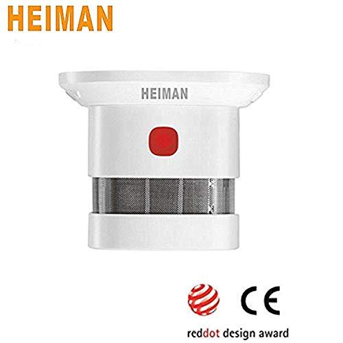 HEIMAN Mini detector de humo alimentado por batería de 10 años, larga vida, alarma de humo con luz-HS1SA