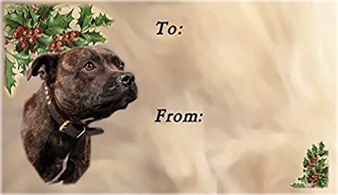Staffordshire Bull Terrier Dog No. 1. Christmas Labels (42) -