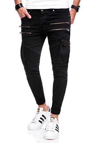 Behype Herren Jeans-Hose Biker mit Zipper & Cargo Tasche 80-3196 Schwarz 34 (Cargo Stil, Jeans)