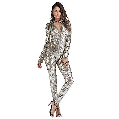 Wonder Pretty Damen Catsuit Leder Jumpsuit Overall Catwoman Kostüme Latex Wetlook Sexy Dessous Ouvert Body Clubwear Silber L