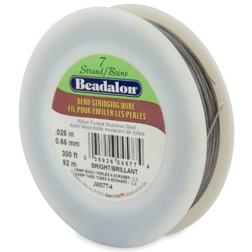 Beadalon 7-Strand Bead Stringing Wire, 0.026-Inch, Bright, 300-Feet by Beadalon