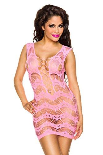 Amynetti Netz-Minikleid pink-onesize