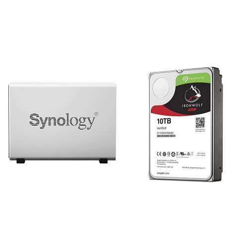 Price comparison product image Synology DS115J 10TB (1x 10TB Seagate IronWolf) 1-bay Desktop Network Attached Storage