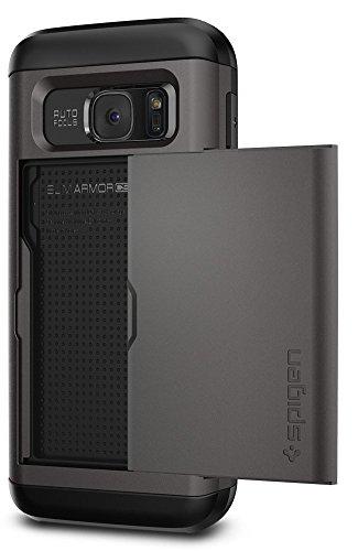 Spigen Samsung Galaxy S7 Hülle, [Slim Armor CS] KartenFach [Gunmetal] Luftpolster-Technologie an den Kanten / 2-teiliges Case Schutzhülle für Samsung S7 Case, Samsung S7 Cover - Gunmetal (555CS20016) - Deckel Brief-fach