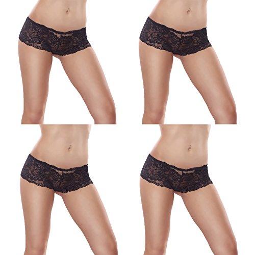 4er/7er Pack L&K-II Damen Panties Hipster mit verführerischen Spitzendetails 3409 in mehren Farben und Varianten 4er-Schwarz