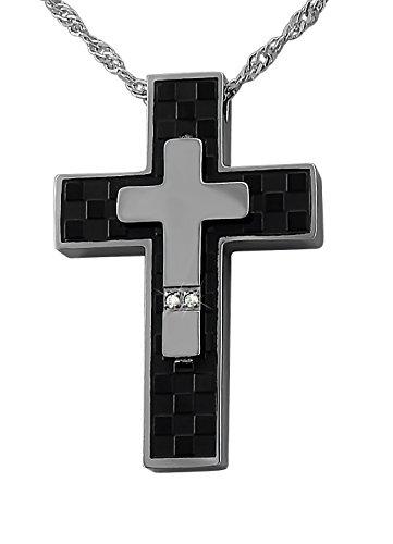 Hanessa Gravierte Kreuz Kette mit Wunsch Gravur auf der Rückseite aus Edelstahl schwarz und silber Schmuck für Herren Geschenk für den Mann