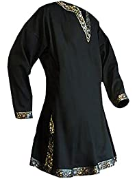 Medieval Gold Trim Long Sleeves Knight Tunic, Black