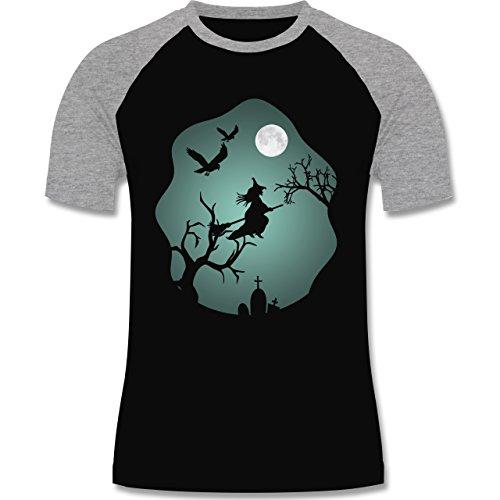 Halloween - Hexe Mond Grusel Grün - zweifarbiges Baseballshirt für Männer Schwarz/Grau Meliert