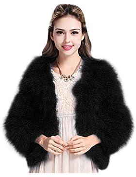 MIOIM Mujeres Chaqueta Jacket del Invierno de Manga larga Caliente de Piel Sintética de Fox Chaqueta de la Capa...