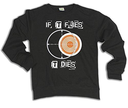 If It Flies It Dies Clay Pigeon Shooting Wahl von Hoodie oder von Strickjacke Herren Damen Unisex (Sweater) Black