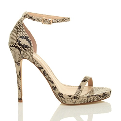 Femmes talons hauts boucle mode fête lanières chaussures sandales pointure Beige Serpent