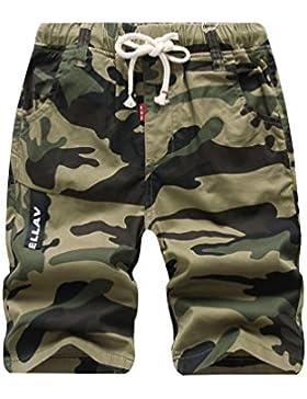 Lau's Pantalón Corto para Niño - Shorts Camuflaje de Verano con Bolsillos y Cintura Elastica