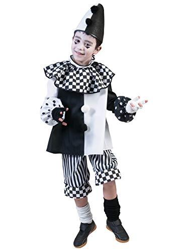 (Pierro´s Kostüm Harlekin Kind Clown Kinderkostüm / Mädchenkostüm / Jungenkostüm Oberteil Hose Größe 98 104 116 128 140 152 164 für Karneval, Fasching, Halloween, Motto Party / Clowns, Zirkus)