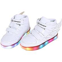 Angin-Tech Angel Serie Zapatillas LED 7 Colores de Carga USB para Intermitente Zapatos con Luces de Los Niños y Niñas para la Acción de Gracias de Navidad con el Certificado CE