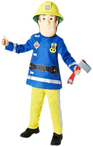 Zauberclown - Jungen Kostüm Fireman Sam mit Top, Hose, Maske und Axt, 104, Gelb (Naughty Krankenschwester Halloween Kostüm)