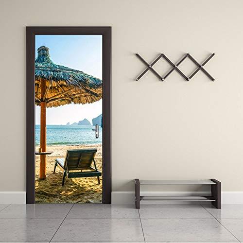 Zxdcd 3D Tür Aufkleber Kirschbaum See Boot Sonnenschirme Stadt Herbst Blätter Wüste Elch Schnee Berg Cliff Dekoration Paste-77X200Cm