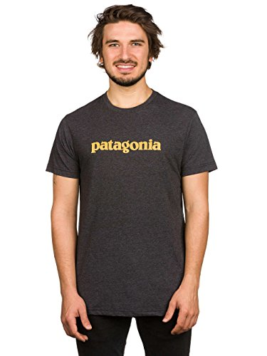 Patagonia M 'S TEXT Logo Shirt, Herren nero grigio mélange