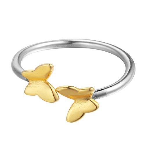 Lovely doble amarillo mariposa Animal abierto anillo de plata de ley 925para mujeres anillos de boda