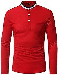 BaronHong Rayas Coloridas Cuello Estándar para Hombre de Manga Larga Botón Abajo Camiseta