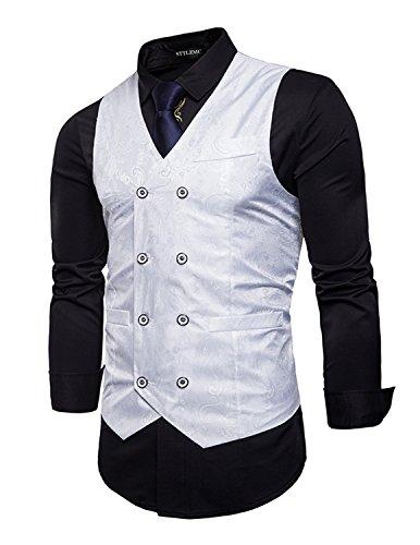 Breasted Blazer (STTLZMC Elegante Herren Weste Formal Paisley Slim Fit Retro Stil blazer,Weiß,s)