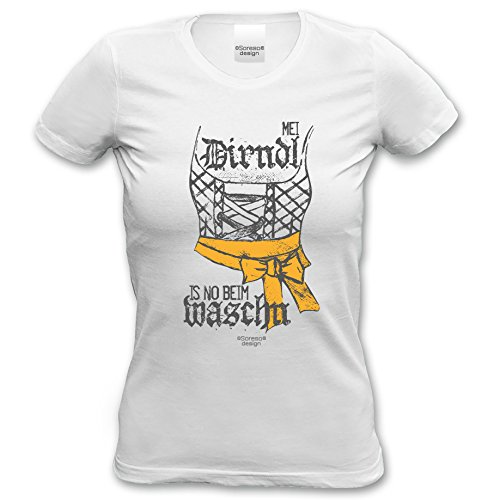 Damen Girlie Trachten T-Shirt Outfit zur Lederhose Mei Dirndl is no beim  Waschn Oktoberfest