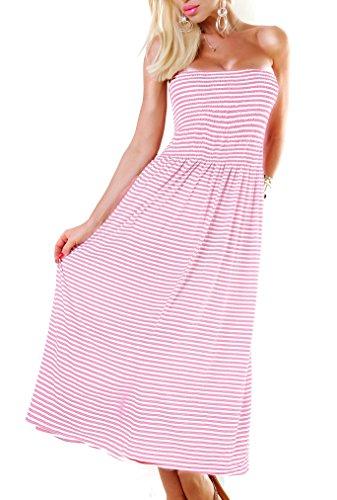 Langes Bandeau Kleid Oder Maxirock Gestreift Stretch One Size (Einheitsgröße)
