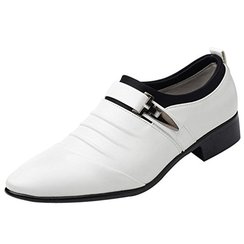 Uomogo scarpe uomo pelle, stringate brogue derby basse elegante sera oxford vintage verniciata bianco,nero,marrone 38-47