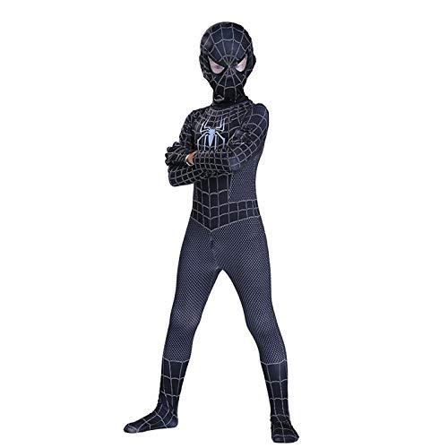Junge Spiderman Onesies Cosplay Kinder Halloween Prom Suit Kinder Spielzeug Maske,Black-110cm