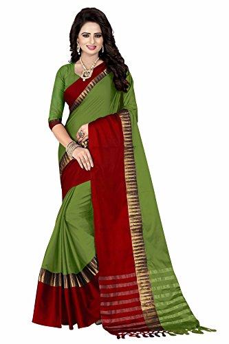 Crazy Cotton Silk Saree With Blouse Piece(101_Shivmani_Green Free Size)