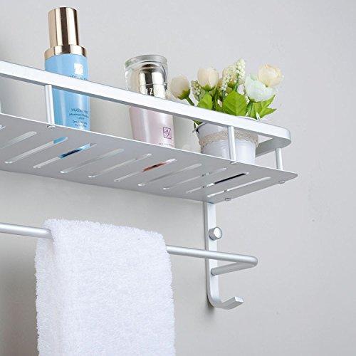 Estantería de Baño de Aluminio, 40cm Barra de toalla y 2 ganchos de pared, ahorro de espacio con fácil ducha, accesorios de baño para almacenar artículos de aseo