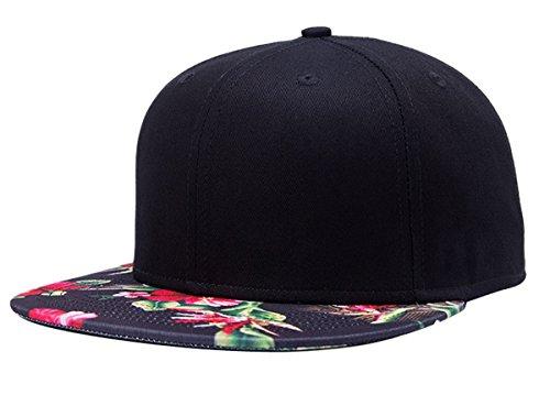 Aivtalk Hip-Hop Baseball Cap Kappe Mütze Unisex Snapback Verstellbare Baseballcap Original Floral Basecap - Schwarz (Floral Cap)