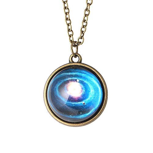 TAOtTAO Necklace Pendant Sonnensystem Halskette Anhänger Planet Halskette Galaxy Double Sided Glaskuppel (K)