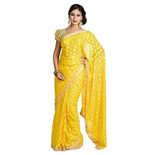 Ethnic Bliss Lifestyles Women's Chiffon Saree (Ethnic Bliss Lifestyles Bright Yellow Phulkari...
