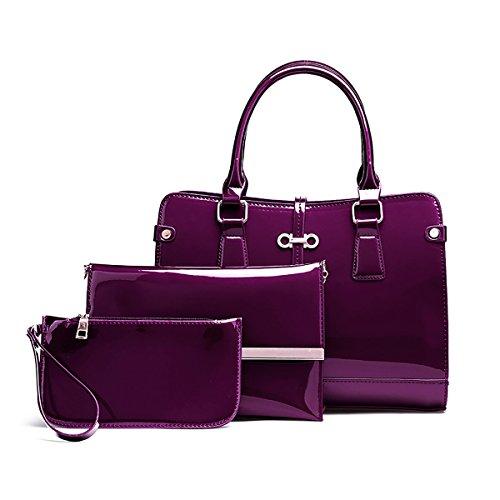 Coolives Damen Quadratischer Handtasche Set 3 Stück PU Lack Leder Lila