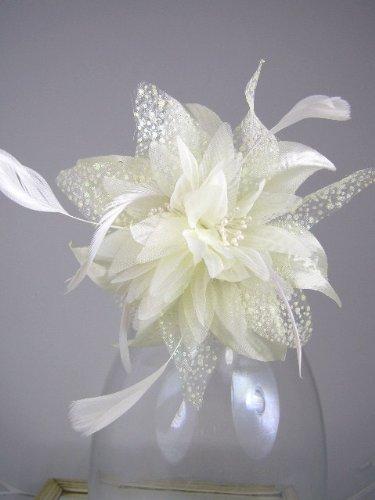 Cream chiffon flower & feather f...