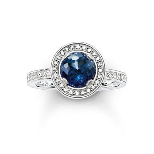 Thomas Sabo Damen-Ring Glam & Soul Luna 925 Sterling Silber Zirkonia dunkelblau Gr. 54 (17.2) TR1971-050-32-54