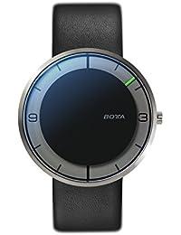 Botta Diseño de Nova Titanio Reloj de pulsera–einzeiger Reloj, titanio, esfera negra, correa de piel