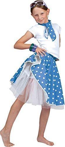 Mädchen Kleid Kostüm Party Buch Woche Tag Gepunktet Tanz Rock 'N' Roll Rock & Schal - Blau, Einheitsgröße (Kinder Rock And Roll Tanz Kostüme)