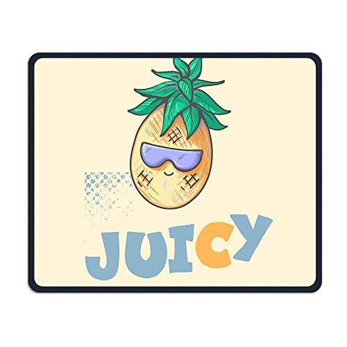 Cool Funny Summer Pineapple with Sun Glasses Illustrations Mouse Pad 7.08X8.66 inches/18X22 cm with Decor,Anti-Skid Rubber Mouse Pad,with Stitched Edges