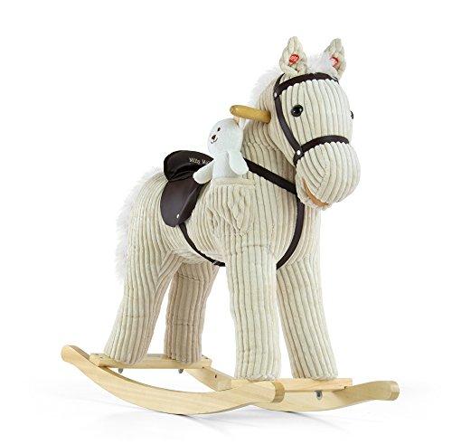 41ZxAUyIlwL UK BEST BUY #1Childrens Wooden Rocking Horse, plush Pony, with toy   white teddybear, Modèle:Luna price Reviews uk