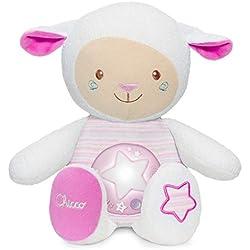 Chicco - Ovejita Dulces Nanas, suave peluche con proyector y sensor de sonido, color rosa