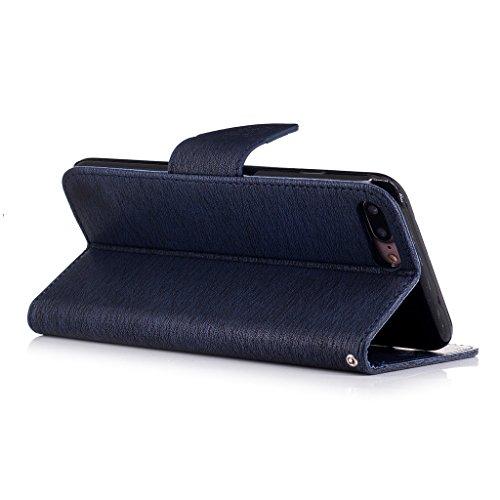 Crisant 3D Kettensägen-Bär Drucken Design schutzhülle für Apple iPhone 7 Plus 5.5'',PU Leder Wallet Handytasche Flip Case Cover Etui Schutz Tasche mit Integrierten Card Kartensteckplätzen und Ständer  Dunkelblau