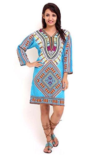 Miss Lavish - Robe - Tunique - Manches 3/4 - Femme multicolore Multicoloured Turquoise