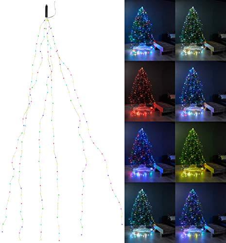 Lunartec Lichterkette als Deko: Christbaum-Überwurf-Lichterkette, 180 Bunte LEDs, 6 Girlanden, je 3 m (Lichterkette für den Innenbereich)