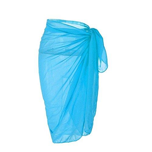 Frauen Chiffon Kleid, Kingwo Damen Badebekleidung Pareo Schal Strand Abdeckungs Herauf Wrap Kaftan Sarong Schal (M, Blau)